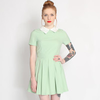 Lavish Alice Mint Green April Pointed Collar Dress