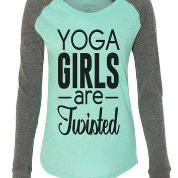 "Womens ""Yoga Girls Are Twisted"" Long Sleeve Elbow Patch Contrast Shirt"
