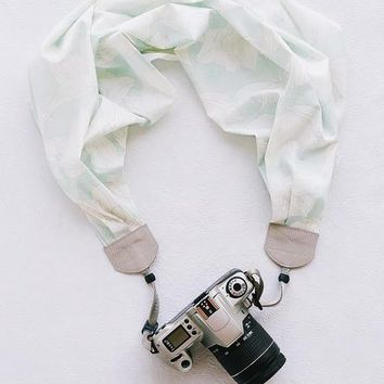 Mint Floral Scarf Camera Strap