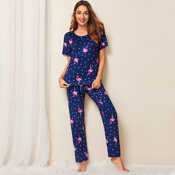 Flamingo Print Polka Dot Pajama Set
