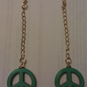 Hippie Peace Sign Dangle Earrings by allthingswildandfree on Etsy