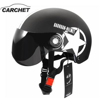 CARCHET Motorcycle Helmet Half Open Face Adjustable Size Protection Gear Head Helmets Unisex Five-pointed Star Black Red Newest