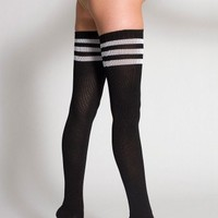 American Apparel Stripe Thigh-High Sock -size 9-11,color Black / White