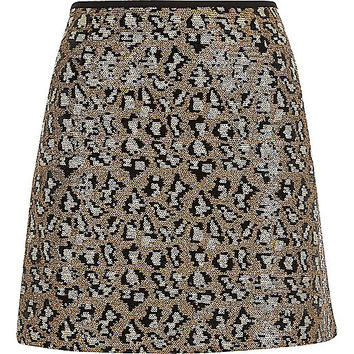 Silver sequin animal print mini skirt