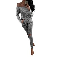 England Style Womens Off Shoulder Sexy Rompers Lady NightOut Playsuit Shiny Velvet Jumpsuit Girl Evening Party Rompers New Nov25