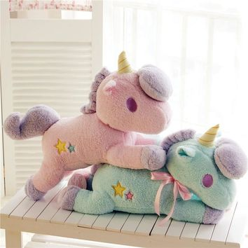 The New 20cm Large Super Cute Light Colorful Plush Toy Unicorn Light Pillow Home Furnishing Decoration Office Sleeping Pillow