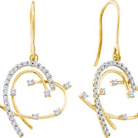 Round Diamond Ladies Fashion Heart Earrings in 14k Gold 0.31 ctw