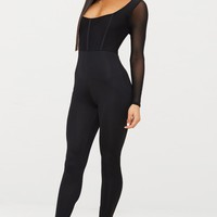 Black Mesh Sleeve Scoop Neck Jumpsuit