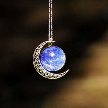 Necklace,Bib Necklace, Moon necklace ,Charm necklace,Silver hollow star galactic cosmic moon necklace