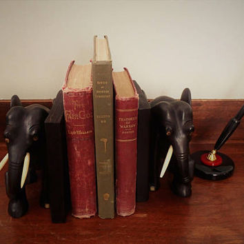 Elephant Bookends Vintage Ebony wood hand carved Asian Elephants with tusks, bone inset eyes and toes