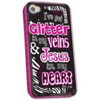 Cherished Girl Glitter in My Veins Jesus in My Heart Christian iPhone 4/4s Case