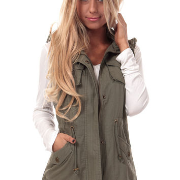 Olive Vest with Aztec Print Back