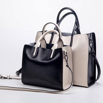 Genuine Leather Fashion Tote Handbag