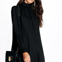 Lana High Neck Puff Sleeve Shift Dress