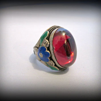 Vintage old miao siler ring,old silver carved flower ring,enamel ring,big red stone ring,resizable ring