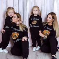 GUCCI Stylish Women Children Fashion Embroidery Top Sweater Pullover Pants Trousers Set Two-Piece-Parent-Child Outfit I