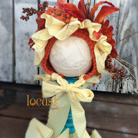 Flower Bonnet, Flower Hat, Autumn Love Bonnet, Baby Bonnet, Photo Prop, Photography Prop, Cream Baby Hat, Flower Hat