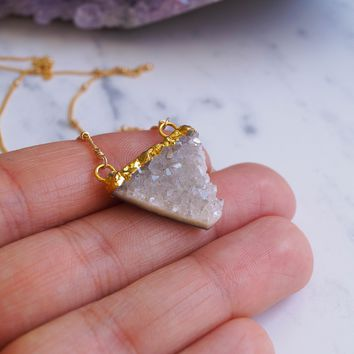 Quartz Druzy Triangle Necklace