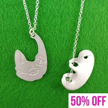 Dangling Three Toed Sloth Shaped Necklace 2 Piece Set in Silver