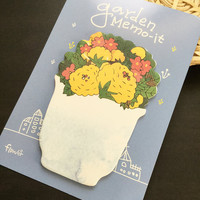 Garden Flower Sticky Notes Memo Pad Labels | Bookmark Stationary Paper | School Office Supplies | Removable Adhesive Cute Korean Post-It M33