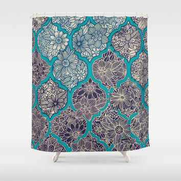 Moroccan Floral Lattice Arrangement - teal Shower Curtain by Micklyn