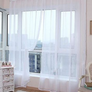 200cm x 100cm 2Pcs Solid Color Washable Window Panel Curtain Mordern Room Tulle Door Curtain Drape Panel Sheer Scarfs Valances