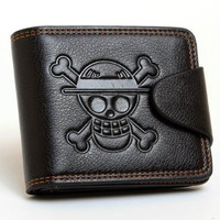 One Piece Monkey D. Luffy Anime Leather Wallet Skull Straw Hat Flag Purse