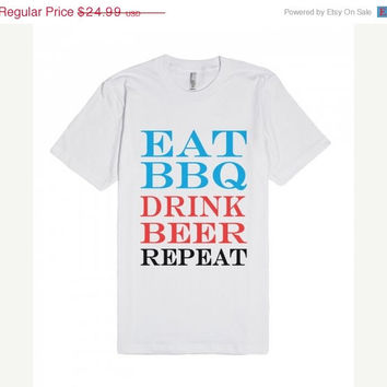 ON SALE Eat BBQ Drink Beer Repeat  T-Shirt