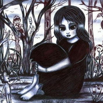 gothic witch girl original art pen drawing big eyes child fantasy illustration creatures landscape trees friendship