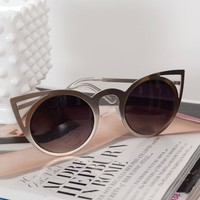 Silver Metal Round Cat Eye Sunglasses