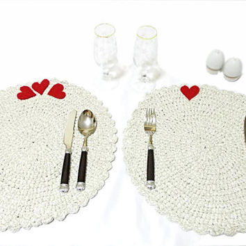 Crochet table mat- Handmade Crochet table set- placemat- For private luncheons- White pot holdet - Romantic dinner - Romantic placemat