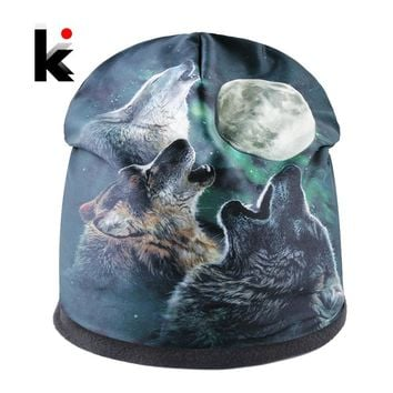 Fashion Skullies Men Beanies Animal Pattern 3D Printing Winter Thick Bonnet Hats For Women Hip Hop Cap Streetwear Bonnet Gorras