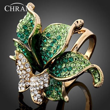 Promotion Imitation Diamond Gold Plated Party Jewelry Rings Elegant Fashion Crystal Butterfly Shape Wedding Rings For Women