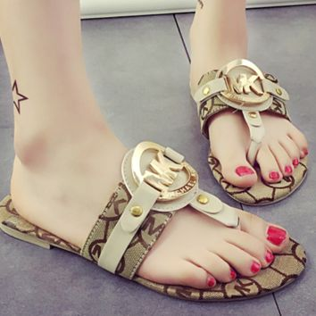 MICHAEL KORS New summer fashion slippers metal leisure letter MK sandals Khaki