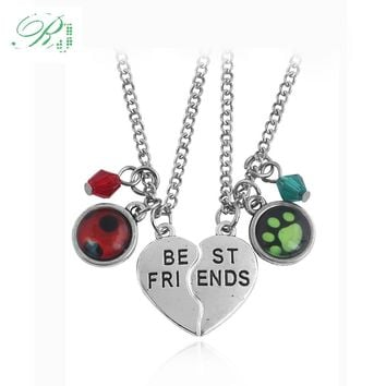 RJ New Miraculous Ladybug Lover Necklaces Cat Noir Logo Pendants Heart Best Friends Letter Crystal Boy Girl Boy Keyring Gift