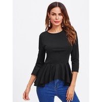 Keep It Moving Peplum Top - Black