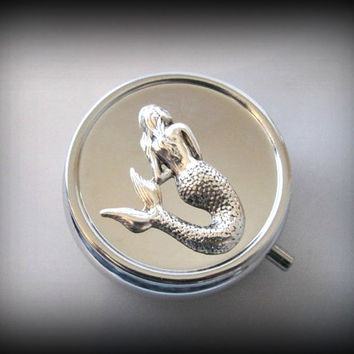 Mermaid Pill Box ,sea creature Pill Case, Gothic pill box, silver pill case , victorian style pill box, 3D pill box,steampunk bill box