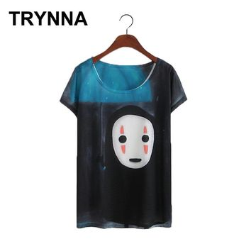 TRYNNA Women Summer Casual Cotton Miyazaki Hayao No Face Man Totoro Printing Cute Kawaii T Shirt Top Tee