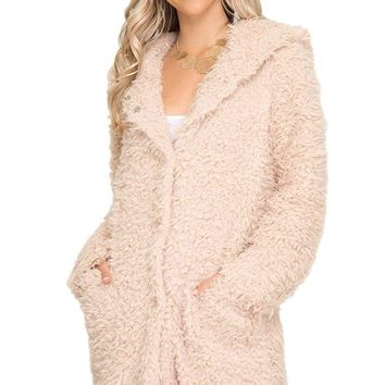 She + Sky Women's Long Sleeve Oversized Faux Fur Hooded Jacket with Pockets