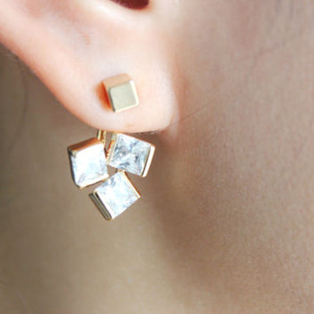 Ear jackets - Square cut diamante gold case ear jackets - square ear jackets - diamante ear jackets