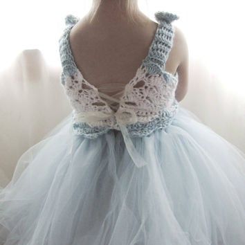 Flower Girl Dress Tulle Tutu Crochet Bodice Vintage Inspired Baby Blue and White Infant to Toddler size 3