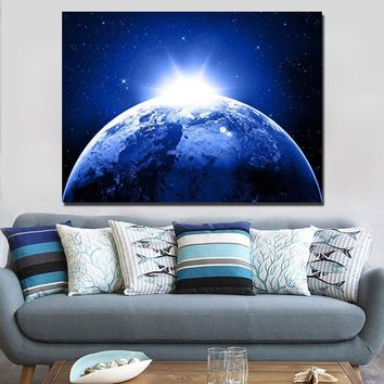 Earth planet stars space sunlight wall art canvas print poster framed unframed