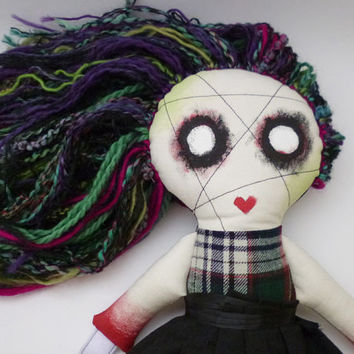 Zombie Doll Girl - Creepy Cute - Strange Plush - Low Brow Style Plushie - Stuffed Toy