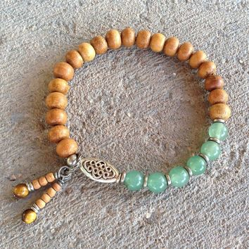 Sandalwood and Aventurine Mala Bracelet