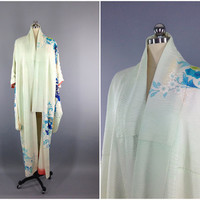 Vintage Silk Kimono Robe / Furisode / Mint Green Ombre and Blue Floral Print / Long Robe / Downton Abbey / Wedding Lingerie