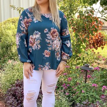 In A Pinch Floral Long Sleeve Blouse - Jade