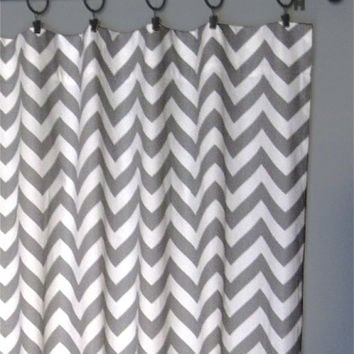 "84"" Grey Zig Zag Curtains - Two Chevron Curtain Panels - 50""x84"" - FREE SHIPPING"