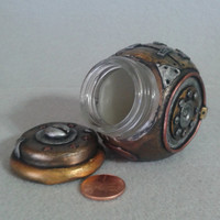 "Tiny steampunk slant jar 2.5"" x 2.25"" x 2"", industrial stash jar"