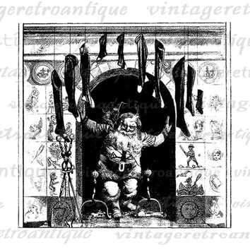 Christmas Santa Claus with Stockings Digital Image Download Printable Graphic Vintage Clip Art Jpg Png Eps  HQ No.2437