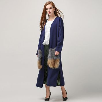 [TWOTWINSTYLE] Spring attachable natural fur pockets long cardigan trench coat for women knitted fashion Clothing New